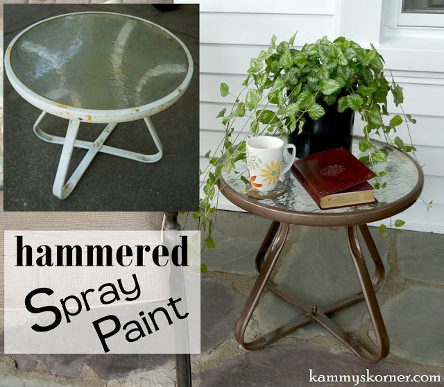 Kammy's Korner: Updating A Rusty White metal Little Outdoor End Table The Easy Way with bronze hammered spray paint