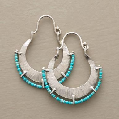 Turquoise beaded hoops in hammered silver.