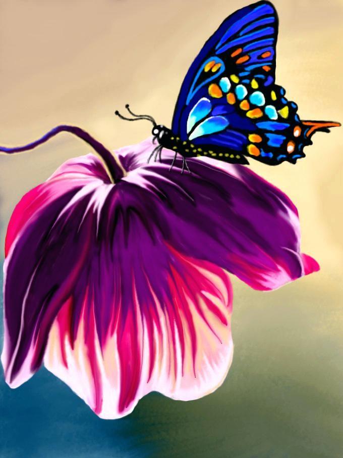 Image Result For Detailed Colour Flower Drawing Flower Drawings With Color Plant Drawing Pink Flowers Wallpaper