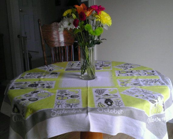 RESERVED For Phipps 4/03/16 Mid Century Hardy Craft Tablecloth Months Of  The Year Yellow Brown Tan Off White With Tag. Rare