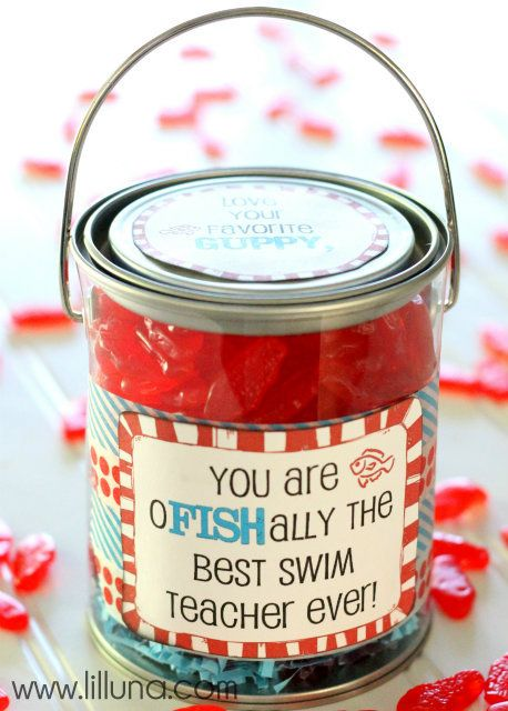 Swim Teacher Appreciation Gift labels to download .... these containers are available at www.creativebag.com