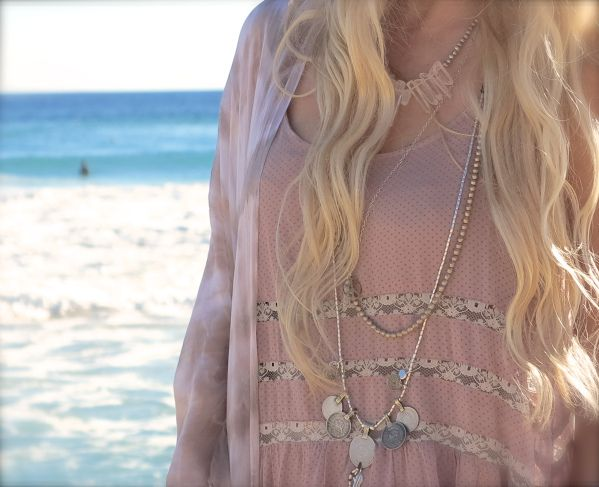 Helen Bense wearing our, crystal gypsy necklace, peace & crystal necklace.  http://j-linedesigns.com/ http://gypsylovinlight.com