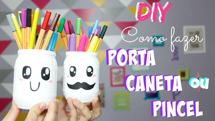 DIY - Como fazer Porta Caneta. Pincel - por Prih Gomes