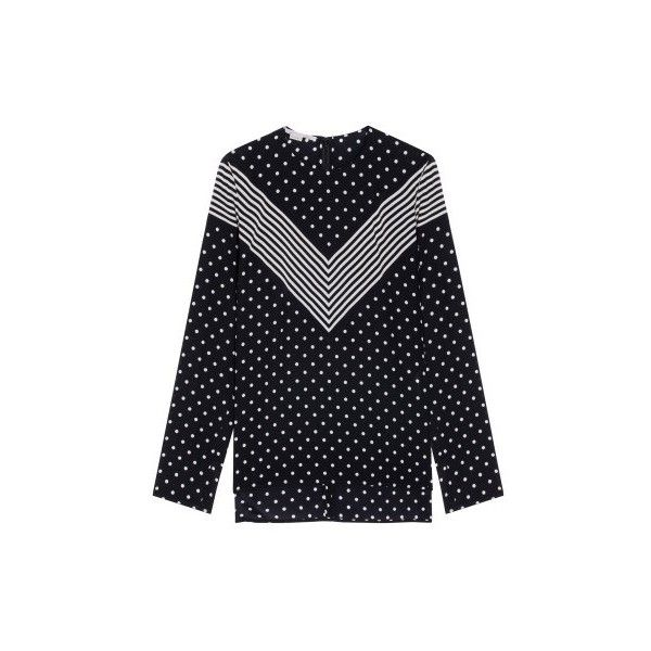 Stella McCartney Polka Dots Louisa Top (4,715 CNY) ❤ liked on Polyvore featuring tops, black, polka dot top, stella mccartney, dot top, slouchy tops and stella mccartney top