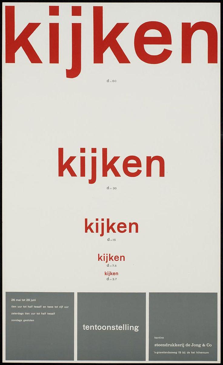 Pieter Brattinga, kantine steendrukkerij de Jong & Co Hilversum 26 mei tot 29 juni kijken d=60 kijken d=30 kijken d=15 kijken d= 7.5 kijken d=3.7, 1961