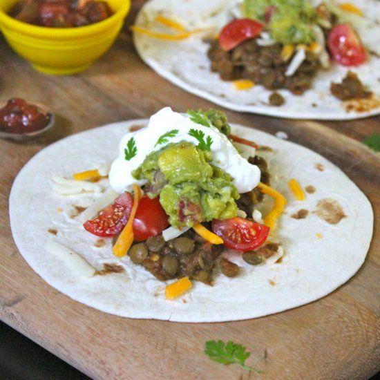 Spicy Lager Lentil Tacos