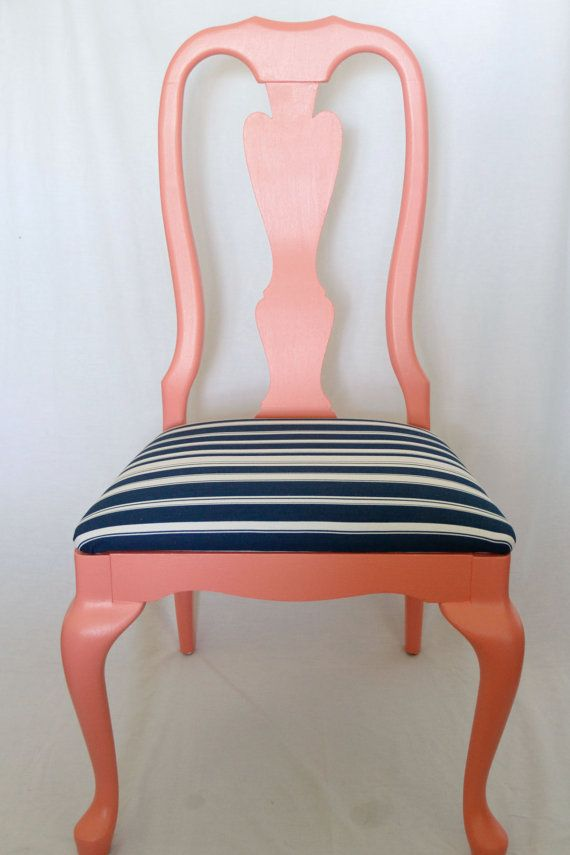 Coral and Navy Chair by LifeatSecondGlance on Etsy, $100.00