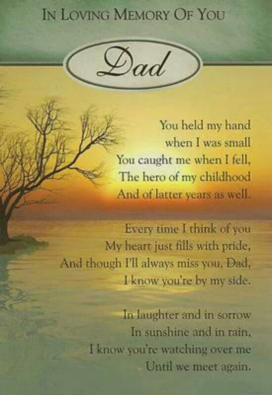 Dad it's hard to believe that one year ago today that you ...