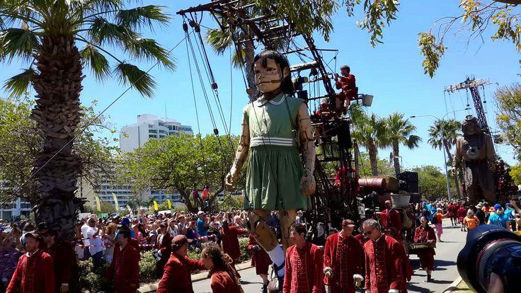'Little Girl Giant' Marionette on Riverside Drive Perth WA