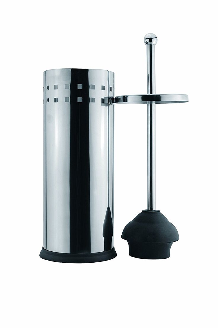 Francois et Mimi Vented Stainless Steel Toilet Plunger and Holder