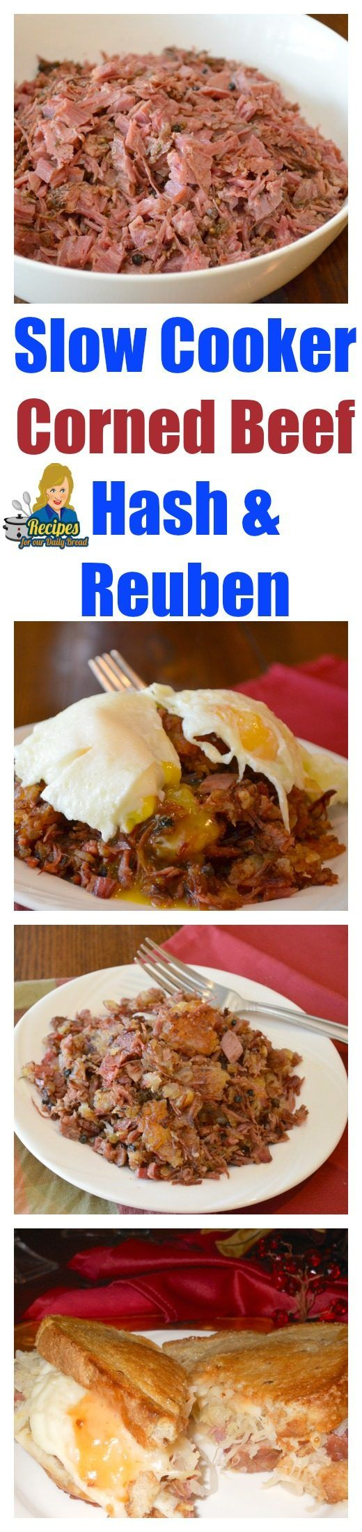 Crockpot corned beef Hash & Reuben Sandwiches perfect for St. Patricks Days perfect for St. Patricks Days  SEE FULL RECIPE HERE: https://recipesforourdailybread.com/best-crock-pot-corned-beef-sandwiches-hash/