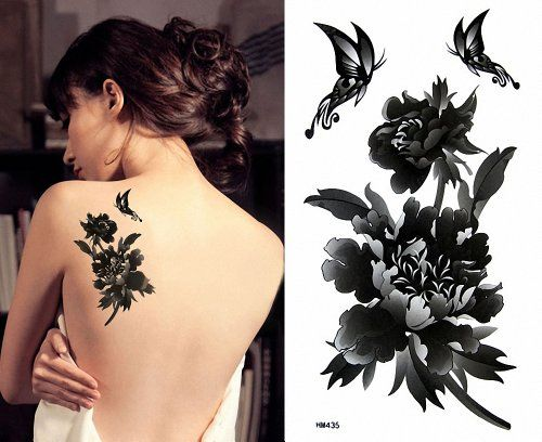 Youyoupifa Pure Black Peony and Butterfly 10 Sheets Waterproof Temporary Tattoo NBT0TA10261-SS3