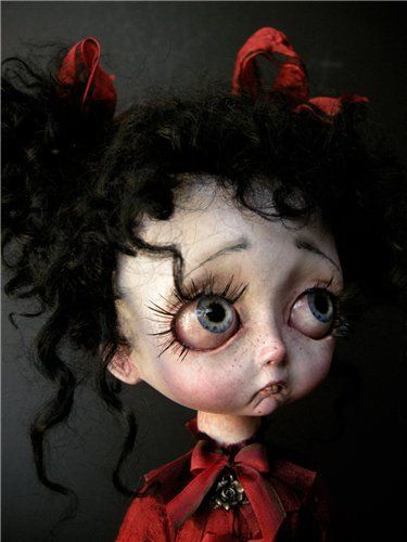 Poor doll, been crying.: