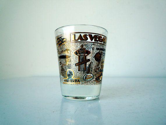 Midcentury LAS VEGAS Shot Glass Vintage Shot by ShantyIrishVintage #vintageshotglass #lasvegas #midcentury #midcenturymodern #mancave #cocktailhour
