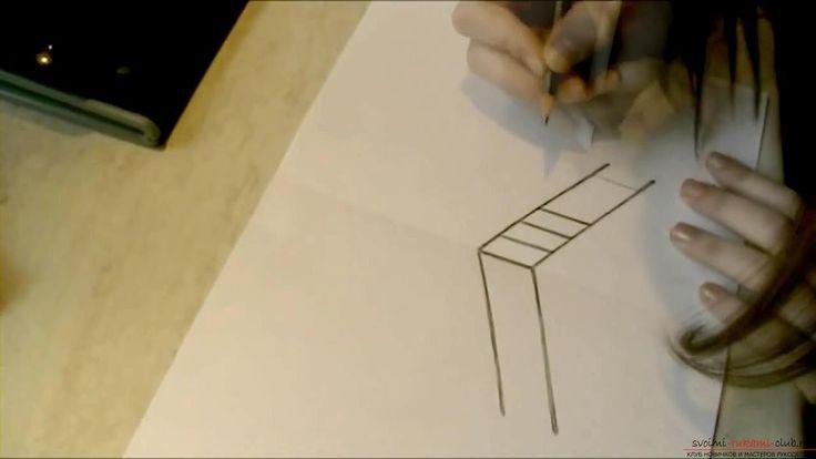Рисование 3d рисунка, изображение лестницы, карандашом для начинающих. Фото №2