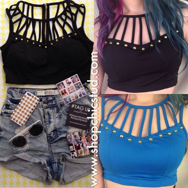 Studded Crop Top Bustier Tank - Black or Blue with Cage Details - Gold... ($25) ❤ liked on Polyvore featuring tops, shirts, crop tops, outfits, bustier tops, black bustier, blue shirt, crop top and gold crop top