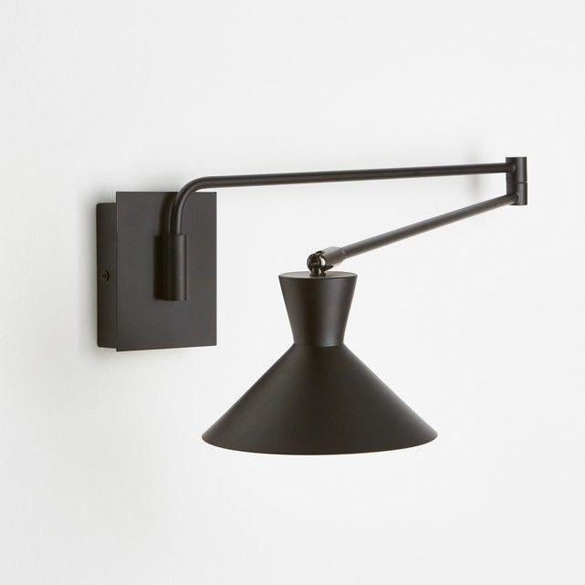 Eigenschappen : - In metaal, afwerking in epoxy. - Schakelaar op de basis. - Fitting E14 voor spaarlamp 11W (niet bijgelverd). - Compatibel met lampen met energiewaarde A. Afmetingen : - Lampenkap Ø17 cm. - Basis : B9 x H11 x D2,8 cm- Lengte arm deel 1 : 40 cm, arm deel 2 40,4 cm- Rotule Ø2 cm. - Max. spanwijdte : 99,6 cm.