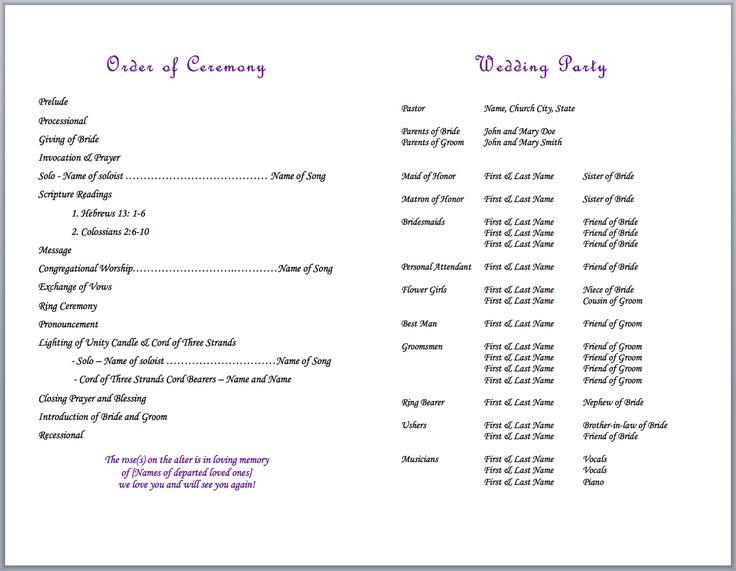 wedding bulletin