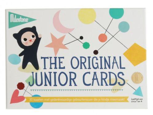 In de set Milestone Junior Cards zitten 30 kaarten met gedenkwaardige gebeurtenissen die kinderen tussen één en vier jaar meemaken. Zoals springen, dansen, een bal gooien en vangen, tot 10 tellen, de trap op en af gaan...  Zet de datum op de kaart en maak een foto van de baby's met de bijpassende kaart om deze mijlpaal nooit te vergeten! Zo worden kinderfoto's echt onvergetelijk.