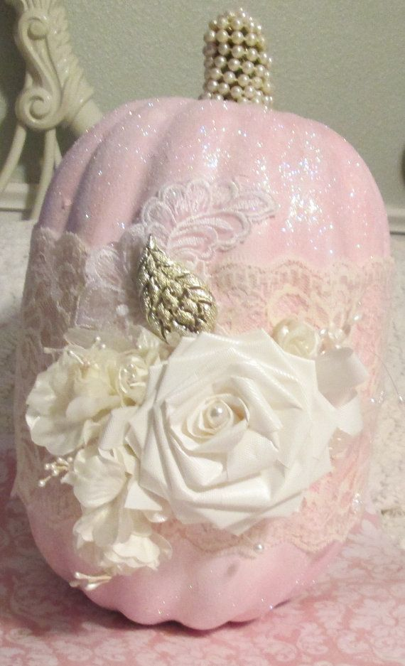 pink shabby chic pumpkin with lace pearls and vintage jewelry leaf