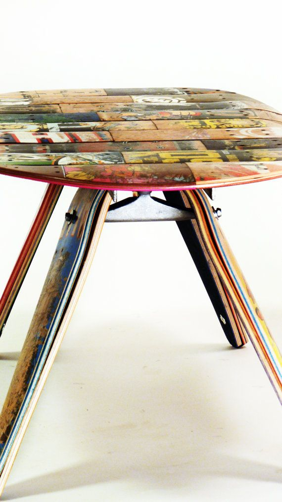 Recycled Skateboard Coffee Table by Deckstool 40 x 21 x 18 by deckstool. Rock solid skate truck joint. A unique piece of skateboard furniture art.