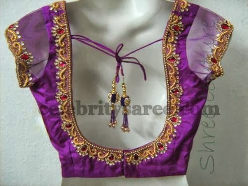 Broad Blouse Designs with Simple Work