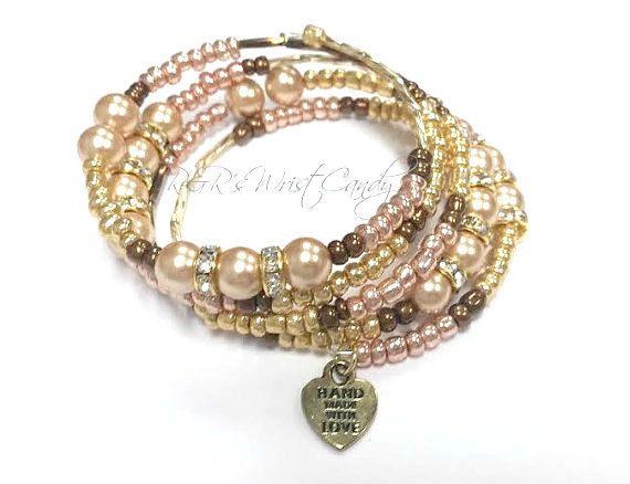 Bronze and Gold Handmade Beaded Coil Bracelet by RandRsWristCandy $10  #handmade #beaded #bracelet #custom #jewelry #etsy #wristcandy