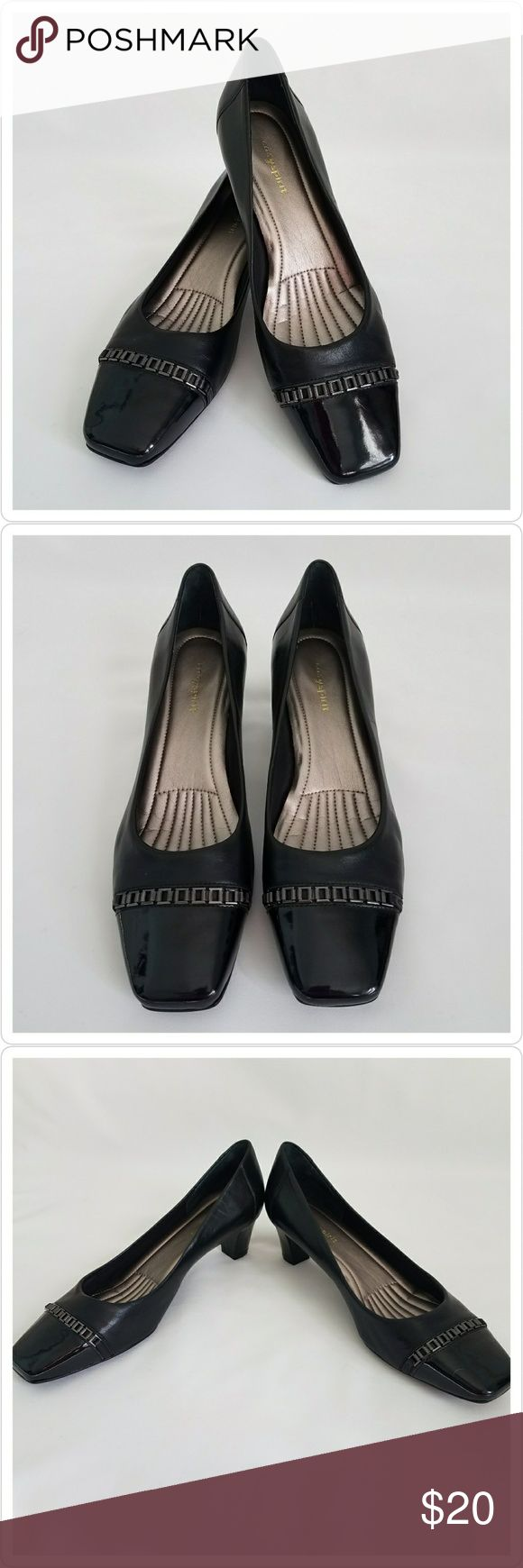 """Easy Spirit Black Leather Square Toe Career Heels Easy Spirit Black Career Heels Condition: Excellent  Brand:  Easy Spirit Style: Square Toe Heels Color: Black Material: Leather Hardware: Brushed Nickel  Size: 9-1/2 M Narrow, standard, wide: Standard  Heel Height: 2"""" Heels: Insole 11"""" Special accents: Patent Leather toe with nickel embellishments  Issues: None  Made in China  Please let me know if you have any questions. Thank you for looking! XoxoxoxoEasy Easy Spirit Shoes Heels"""