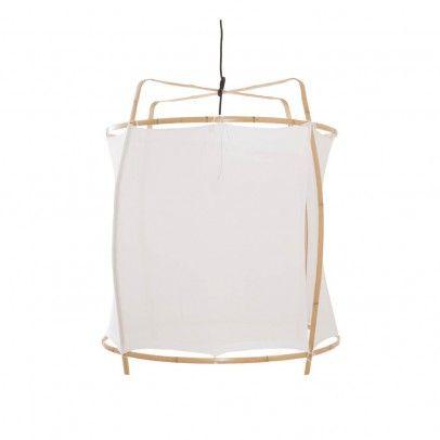 Sospensione Gigante in Bambù e Velo di Cotone -  D 77 cm H 80 cm Bianco  Ay illuminate
