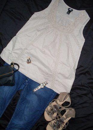 Kup mój przedmiot na #Vinted http://www.vinted.pl/kobiety/bluzki-bez-rekawow/5512821-tunika-hm-z-koronka-azurkowa