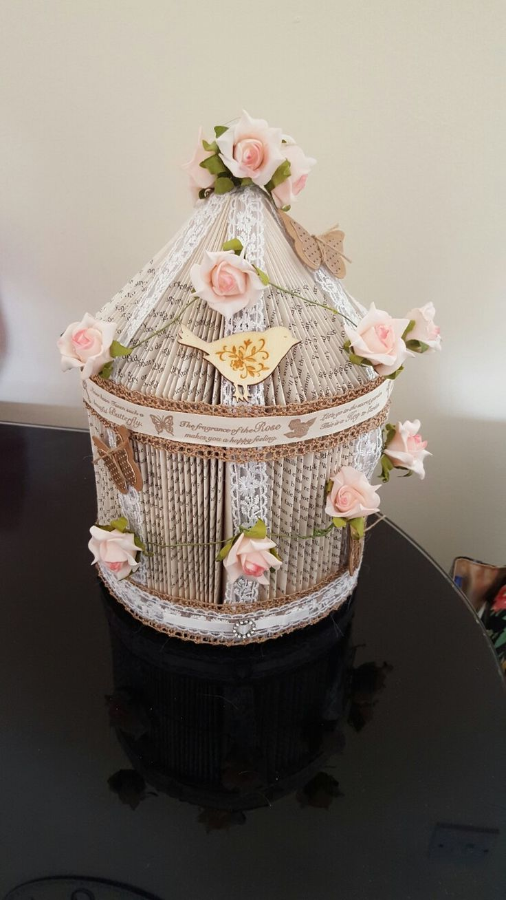 Rose garden birds house book sculpture