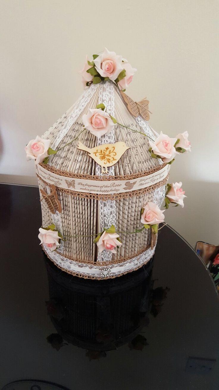 Rose garden birds house book sculpture