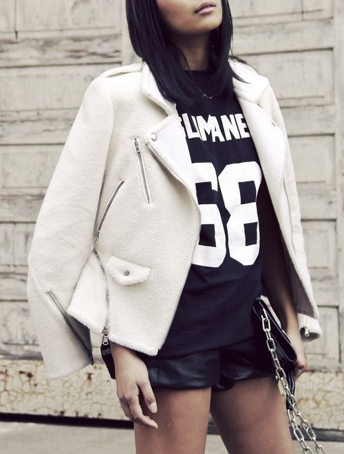 see how our editorial assistant styles a white leather jacket two ways