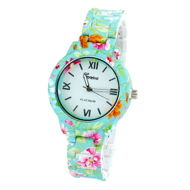 Gnova Platinum TOP plastic strap floral watch Fashion woman wristwatch vintage reloj hour montre student