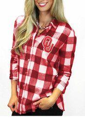 Gameday Couture Oklahoma Womens Red Buffalo Check Dress Shirt