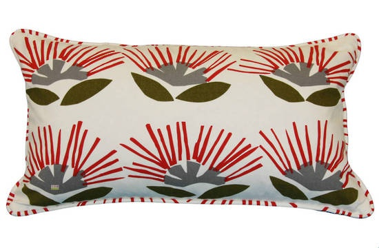 Pohutukawa on Duck 50x30 cm piped cushion cover.