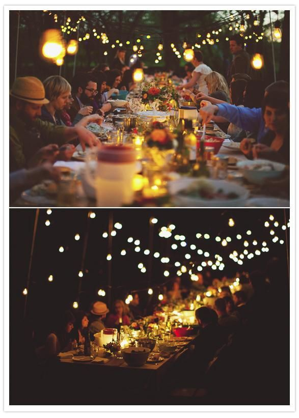 Dinner party | golden, glowing lights. #100thingsiCRAVE #connection