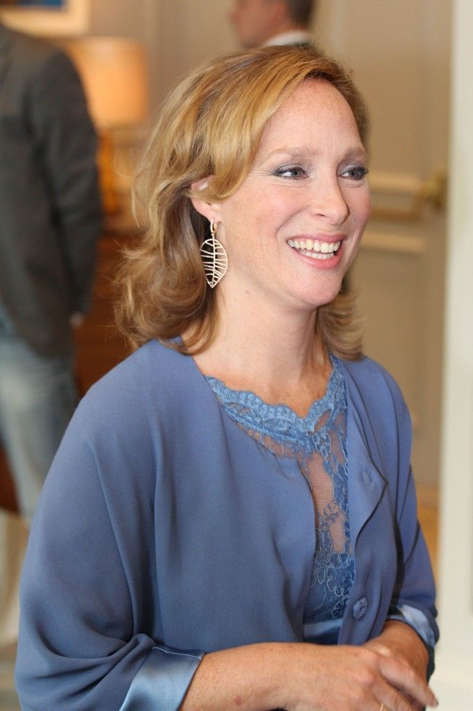 Prinses Margarita bij de presentatie van haar juwelenlijn, juni 2014