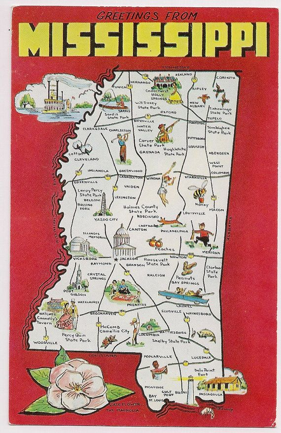 Retro Mississippi Tourist Map Postcard Souvenir By VintagePackRat - Mississippi maps