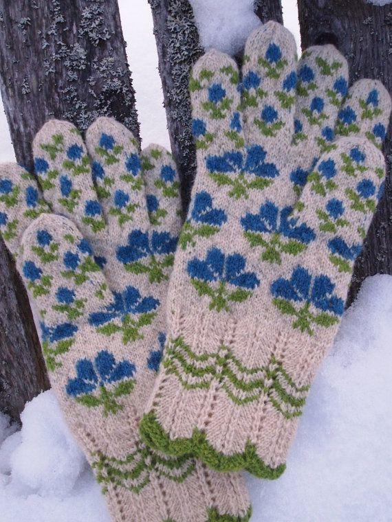 Finely Hand Knitted Seto (Estonian) Gloves in Siberian style via Etsy