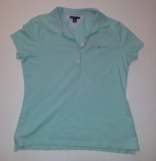 Tommy Hilfiger Polo Shirt Ladies Mint Green Short Sleeve, Size XL $12 #TommyHilfiger #PoloShirt #Casual