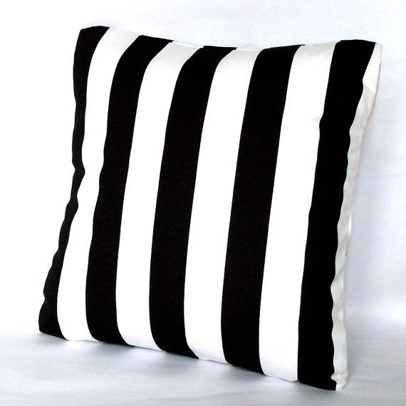 Black and White Pillow Covers - TWO 20x20 inch Striped Throw Cushion Covers - Black White Canopy Stripes, More Sizes Available