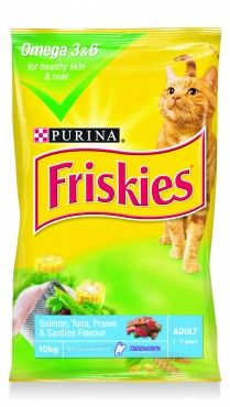 Nestle Purina Friskies Adult Seafood 10kg - FRISKIES Salmon, Tuna, Prawn and Sardine flavour is not only super tasty but will get your cat looking good and feeling great.Rich in Omega 3 and 6 for healthy skin and coat.
