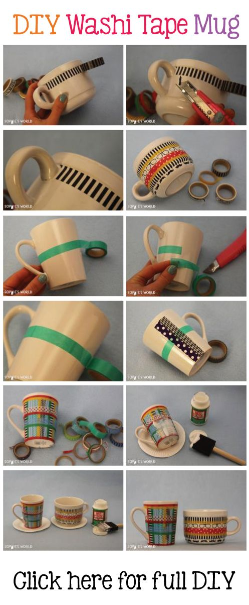DIY Washi Tape Mug  #sophies #world #washi #tape #mug #DIY  http://sophie-world.com/crafts/washi-tape-mug