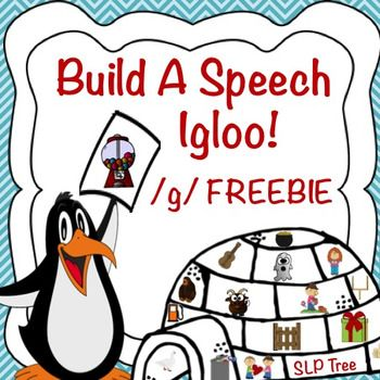 """Build a speech igloo using your /g/ sound! This activity targets /g/ in both initial and final positions and is a free sample from Articulation Winter Craftivity Build A Speech Igloo Bundle  This product contains multiple versions. The easier version consists of igloos containing 16 picture filled """"blocks of ice"""" that students can match to either a blank or a black and white picture filled igloo puzzle template."""
