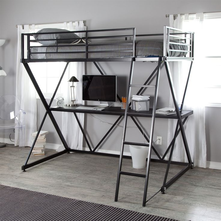Modern Black Metal Twin size Bunk Bed Loft with Desk and Ladder