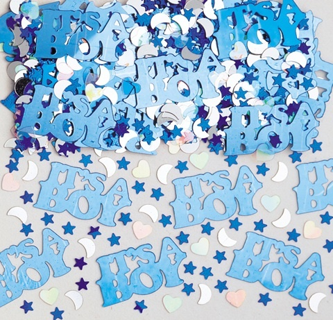 Metallic its a boy confetti.  Great for scattering on tables or place in your invitations. £2.50 from the Fuschia Boutique at www.fuschiadesigns.co.uk.