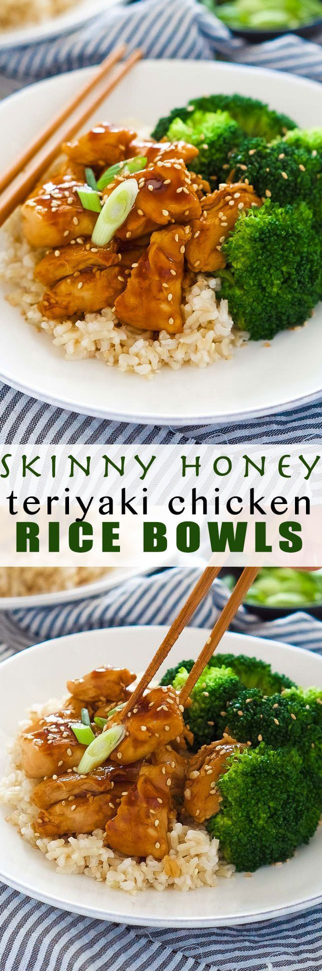These delicious Skinny Honey Teriyaki Chicken Rice Bowls are a super quick dinner! Tender chicken is sauteed until juicy and simmered in a homemade, healthy teriyaki sauce. Served with fresh veggies and rice, you will forget all about takeout! (Quick Diet Clean Eating)