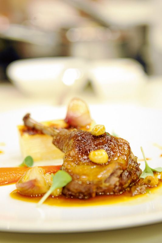 TV Dinners: Confit Duck Leg with Salsify Gratin, Carrot Puree, Glazed Pearl Onion, Thyme ad Raisin Jus