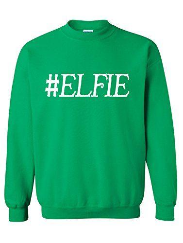 9d1665b7aebc Manateez Men s Christmas Elves Hashtag Elfie Selfie Crew Neck Sweater Small  Green